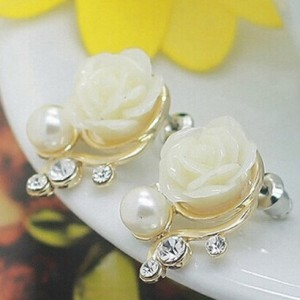 Korean Fashion Jewelry Exaggerated Earrings New Style Korean Women Ol Pink Rose Imitation Pearl Crystal Earrings Wholesale 1