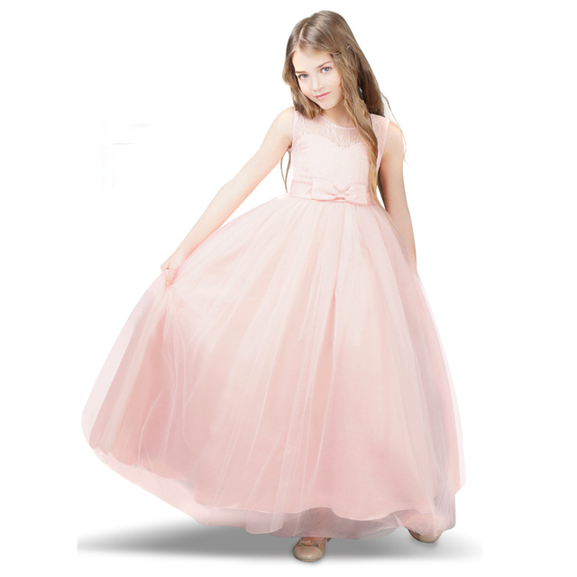 e125b352c5 Kwiat dziecko dziewczyna sukienka różowy Prom suknia wieczorowa dla dziewczynek  ubrania dla dzieci formalne nastoletnie dziewczynka