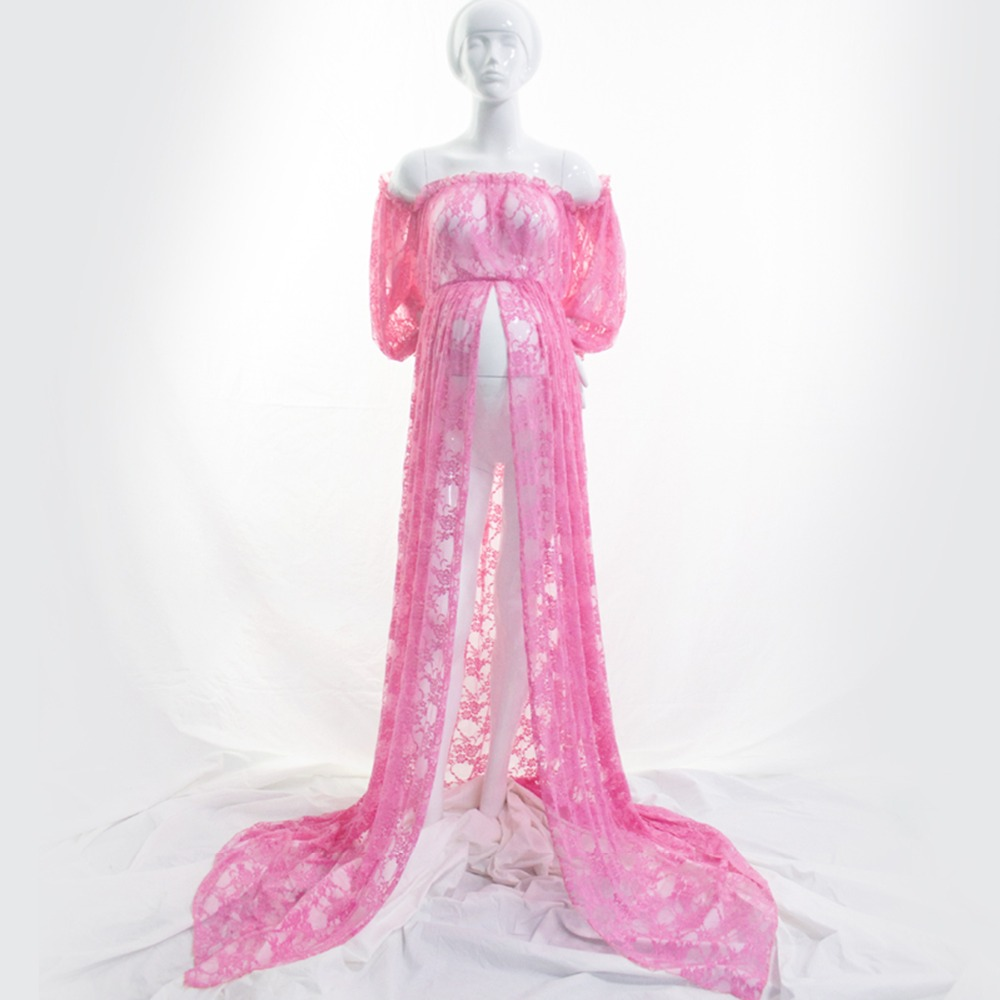 Image 5 - Maternity Photography Props Pregnancy Fancy Dress Lace Robe Strapless Maxi Gown Maternity Dress Split Front Women Long Dress-in Dresses from Mother & Kids