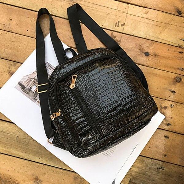 Women Mini Backpack PU Leather Crocodile Pattern Zipper Girls School Shoulder Bag Travel Lady Casual Backpacks