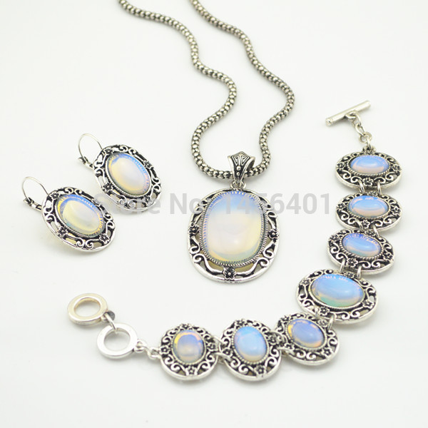 AB89 Earring & Necklace Jewelry Set Vintage Natural White Stone Jewelry Set Necklaces Pendants Factory Price Wholesale