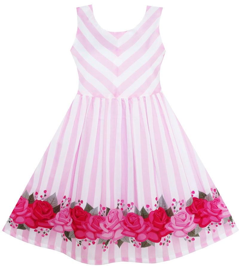 Girls Dress Striped Rose Tulle Pink 2017 Summer Princess Wedding Party Dresses Girl Clothes Size 7-14 Pageant Sundress Vestidos girls dress ruffles tulle tiered dress sequin party birthday princess 2016 summer wedding dresses kids clothes size 4 12 pageant