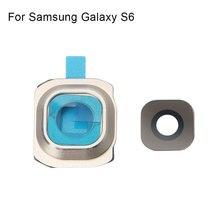 1 комплект Задняя крышка объектива камеры стеклянная крышка с рамкой держатель для samsung Galaxy S6 запасные части