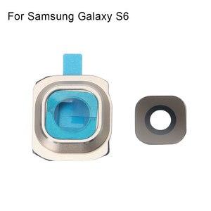 Image 1 - 1 комплект Задняя крышка объектива камеры стеклянная крышка с рамкой держатель для samsung Galaxy S6 запасные части