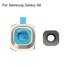 Conjunto 1 Voltar Rear Camera Lens Tampa De Vidro com Suporte de Quadro para Samsung Galaxy S6 Peças de Reposição