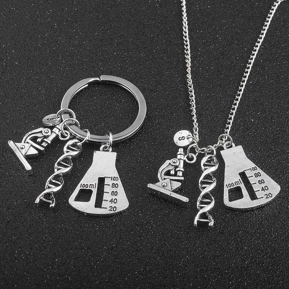 Chemical Biological Experimental Tool Necklace Pendant Conical Flask Molecular DNA Microscope handmade For women men accessories
