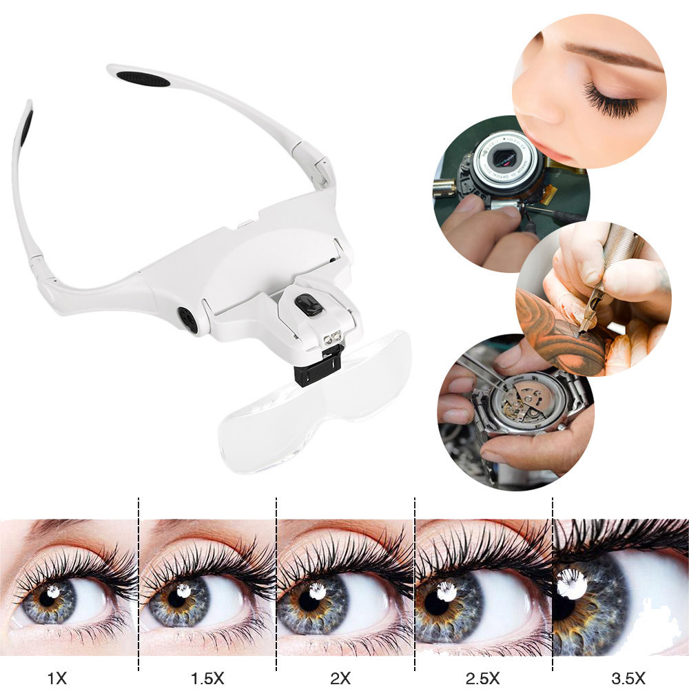 1X 1.5X 2X 2.5X 3.5X Magnifier Eyelash Extension Glasses Makeup Lamp Headband Light + 2 LED Eyelash Grafting Repair Tattoo Tools