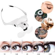1X 1.5X 2X 2.5X 3.5X Magnifier Eyelash Extension Glasses Makeup Lamp Headband Light + 2 LED Eyelash Grafting Repair Tattoo Tools