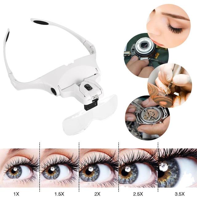 fd7770d926a 1X 1.5X 2X 2.5X 3.5X Magnifier Eyelash Extension Glasses Makeup Lamp  Headband Light