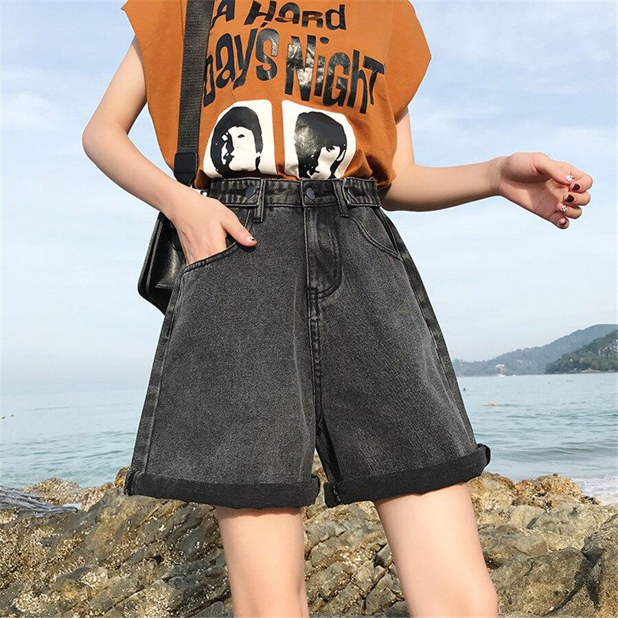 Fashion Denim Shorts For Women   Jeans   Crimping High Waist Cuff Wide Leg Harem Denim Shorts Femme Korean Boyfriend   Jeans   Vintage