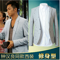 Free shipping Spring new fashion men's suits embroidered gray leisure suit jacket coat Slim M-3XL