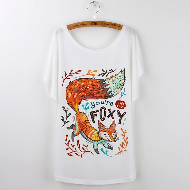 HTB1XLUCJXXXXXbrXFXXq6xXFXXX0 - Cute Fox Short Sleeve White T Shirt Camiseta Feminina Tee
