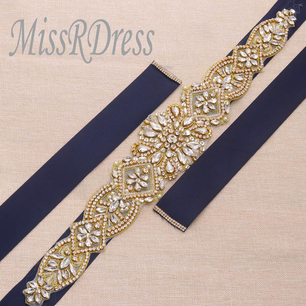 MissRDress schitterende bruidsjurk riem goud kristal strass linten - Bruiloft accessoires - Foto 6
