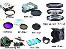 49mm filtre kiti UV CPL FLD ND4 yakın çekim + Lens Hood + kap + temizleme kalemi Canon EOS m5 M6 M10 M50 M100 M200 15 45mm lens