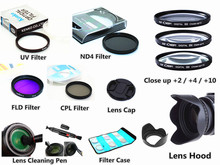 49mm kit de filtro uv cpl fld nd4 perto + capa de lente + tampa + caneta de limpeza para canon eos m5 m6 m10 m50 m100 m200 com 15 45mm lente