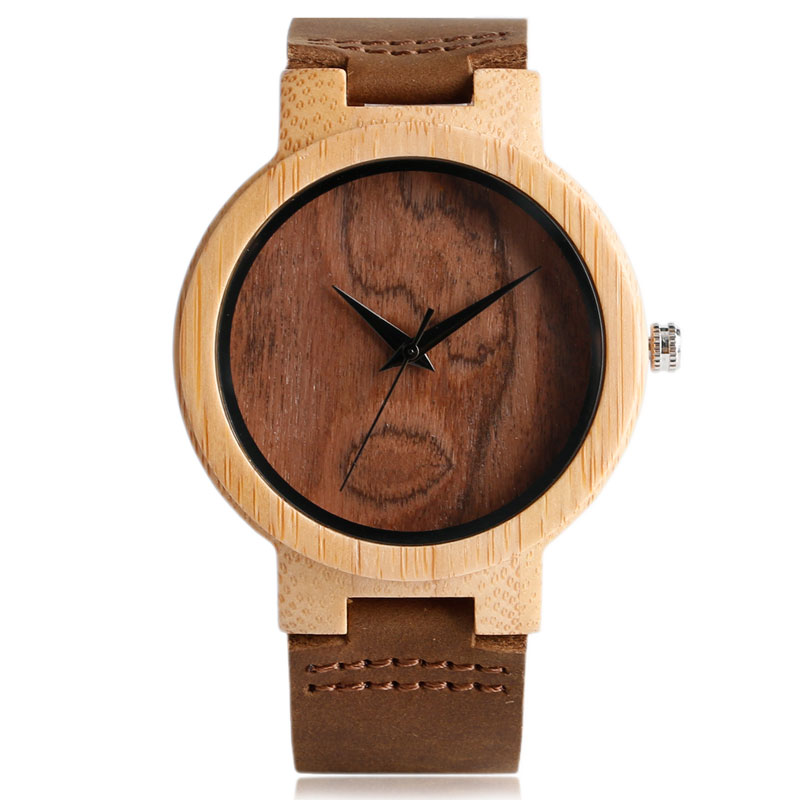2017 Mens Bamboo Wood Watches Minimalist Analog Genuine Leather Wooden Quartz-watch Casual Sports Wrist Watch Relogio Masculino green dial creative wooden watch 2017 relojes hombre leather band bamboo minimalist mens nature wood relogio masculino