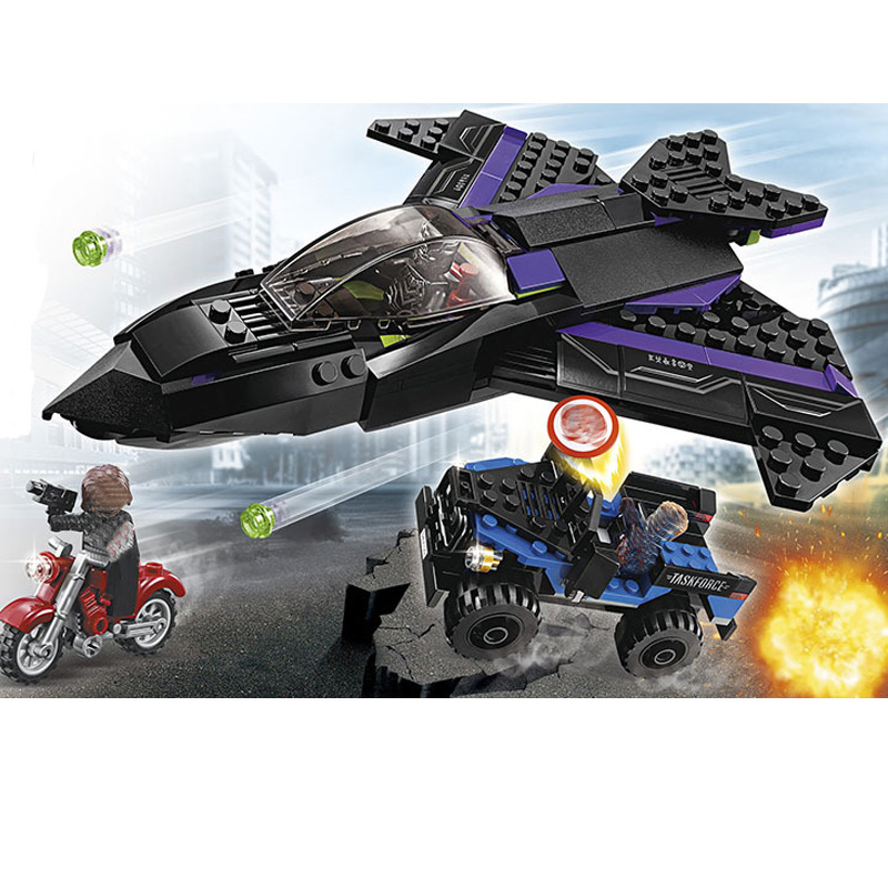 Decool 7122 287pcs/Set Marvel Super Heroes Avengers Black Panther Pursuit Chariot Building Brick Blocks Sets Compatible 76047 мотоперчатки pursuit
