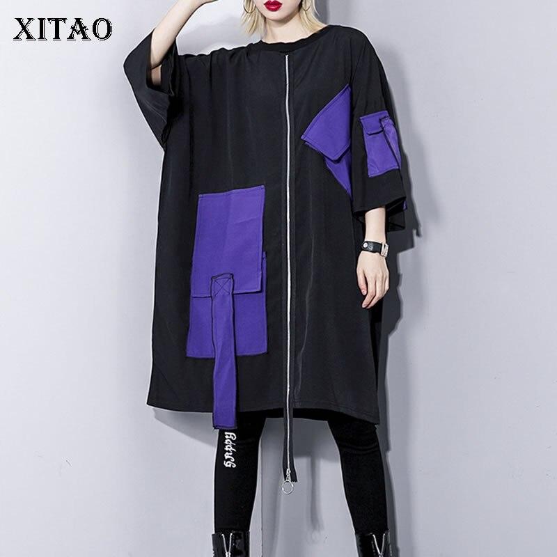 XITAO Women 2019 Spring Summer New Europe Fashion O neck Three Quarter Sleeve Dress Female