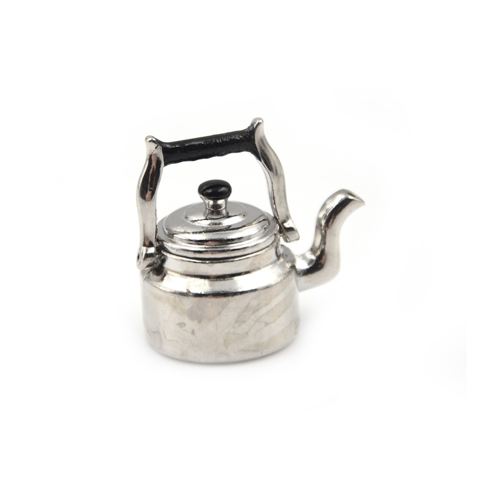 New Arrival 1/12 Dollhouse Miniature Accessories Mini Metal Milk Tea Pot Simulation Kettle Model Toys For Doll House Decoration