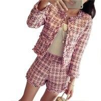 Lyfzous Fashion Tweed Plaid 2 Two Piece Set Women Tassels Jacket And Slim Mini Shorts 2