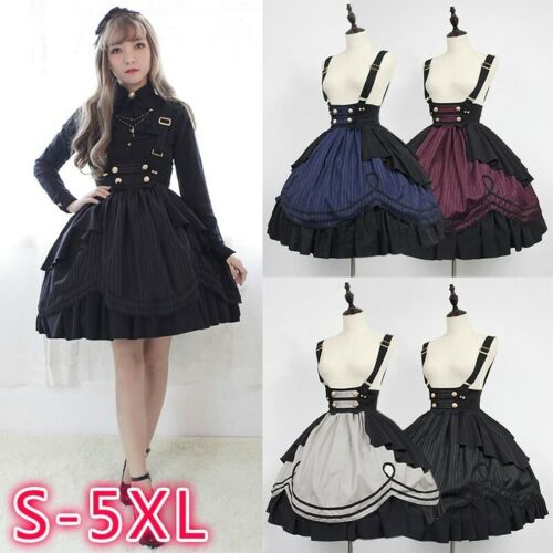 Lolita Dress Womens Long Sleeve Classic Sweet Girls Cosplay Costume Plus Size