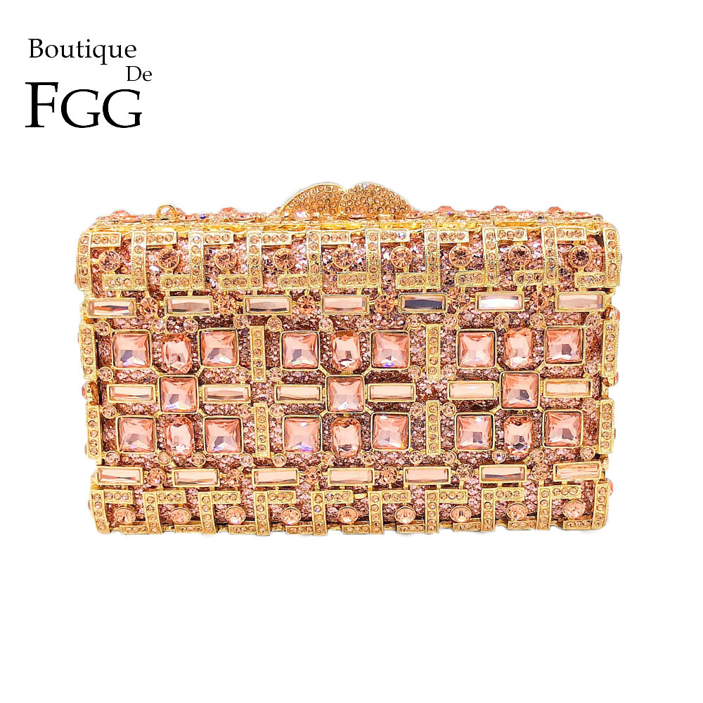 Boutique De FGG Hollow Out Sparkling Diamond Women Evening Minaudiere Handbags Metal Box Clutch Bag Wedding