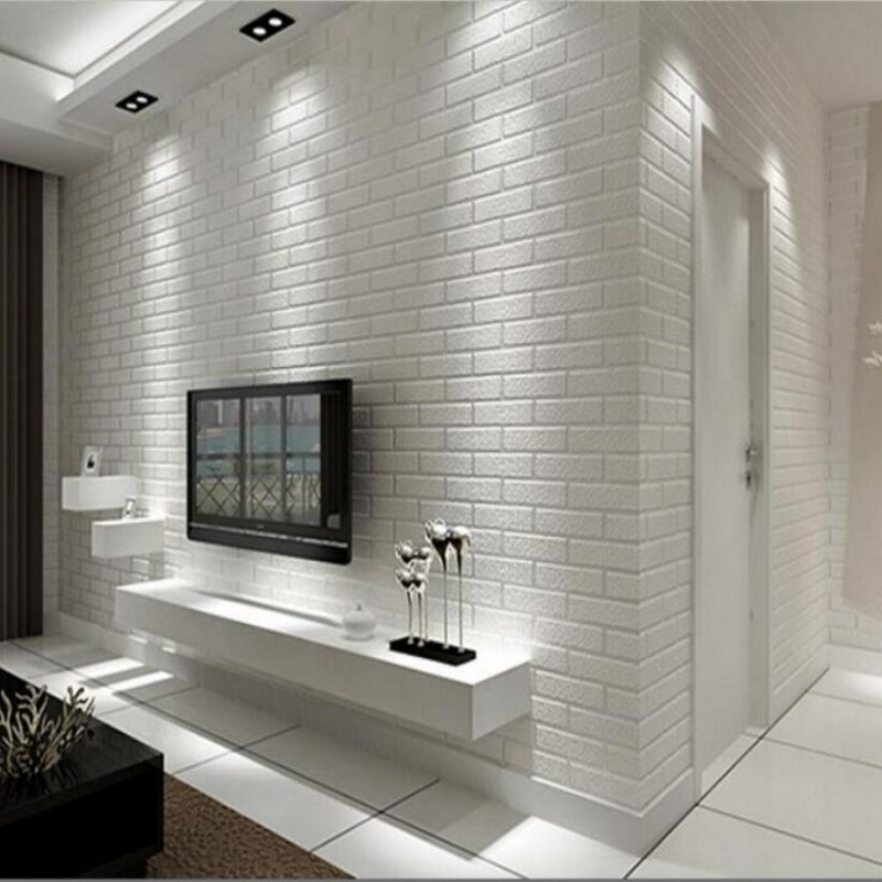 Papel pintado moderno 3D pared de ladrillo blanco pared dormitorio ...
