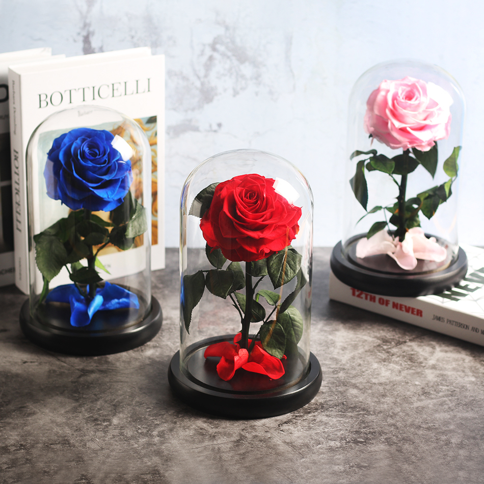 Красавица и Чудовище красная роза в стеклянном куполе на розовой гостиной спальни украшения стола подарки на день Св. Валентина подарки на день рождения