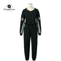 Eileen Elisa Women Sexy Two Piece Set Tracksuits Women Crop Tops Hooded Sweatshirts And Black Striped
