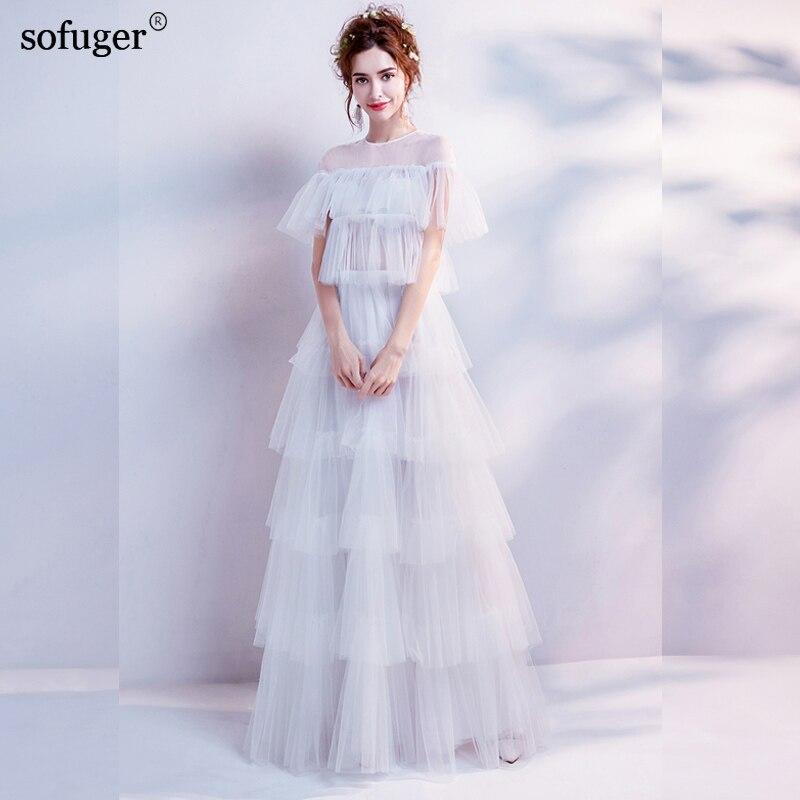 2019 Scoop Neck Short Sleeves Floor Length A Line Gown Tulle White Elegant Evening Dresses vestido