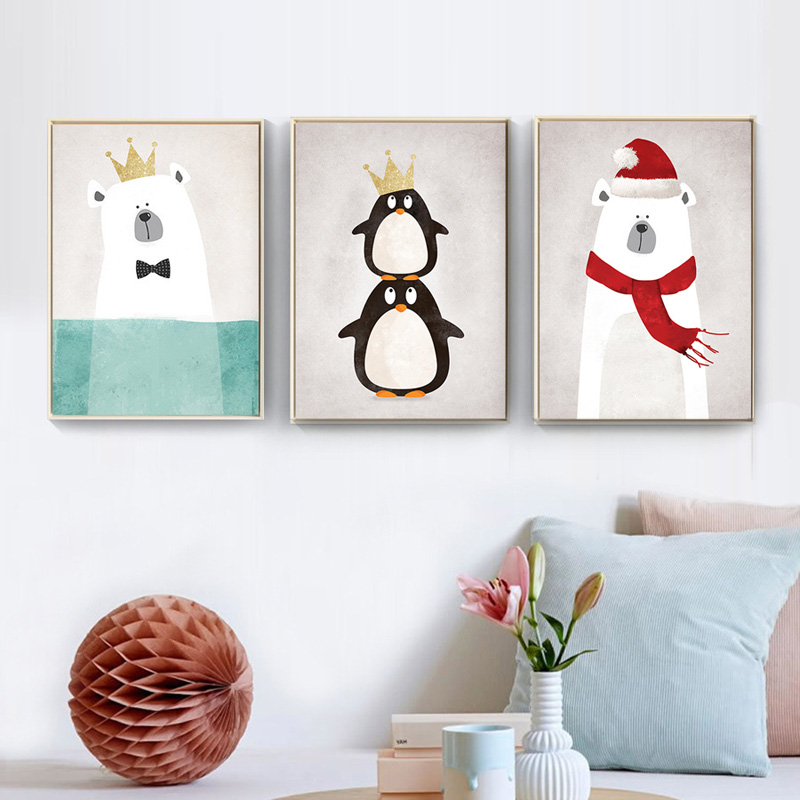 בעלי חיים חמודים מודרניים בסגנון 8 דובים פינגווינים היפופוטמים A4 הדפסת פוסטר קיר חדר שינה ילדים ללא מסגרת ציור בית תפאורה
