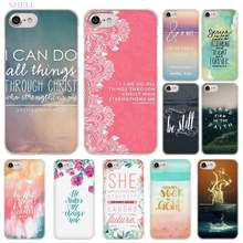 Sheli Ayat Alkitab Filipi Fashion Transparan Penutup Case untuk iPhone X Max XR X 5.1 6.1 6.5 2019 S 5 S SE 6 6 S 7 7 Plus(China)