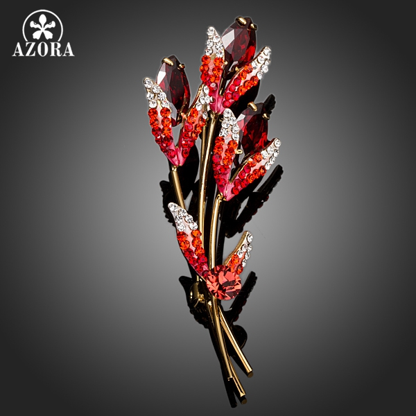 AZORA Three Twigs Gold Color With Red Stellux Austrian Crystal Pin Brooch TP0031