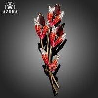 AZORA Три веточки золотого цвета с красным Stellux австрийская брошь с кристаллами TP0031