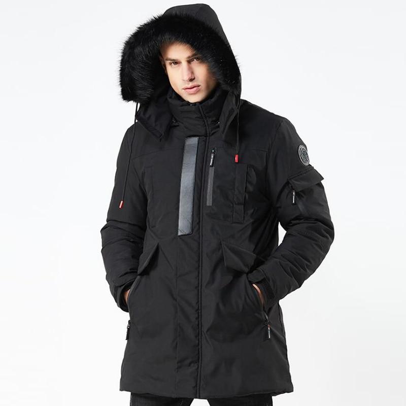 Men/'s Trench Casual Hooded Outwear Warm Coat Fur Collar Long Winter Jacket Parka