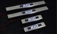 Met Blauwe Led Licht Rvs Scuff Plate/Instaplijsten Voor Kia Rio 2010-2015 4 Stks/set Auto onderdelen