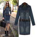 SZMXSS Women Denim Dress Plus Size 5XL Vintage Jeans Dresses Long Sleeve Autumn Winter Bodycon Ladies Party Dresses