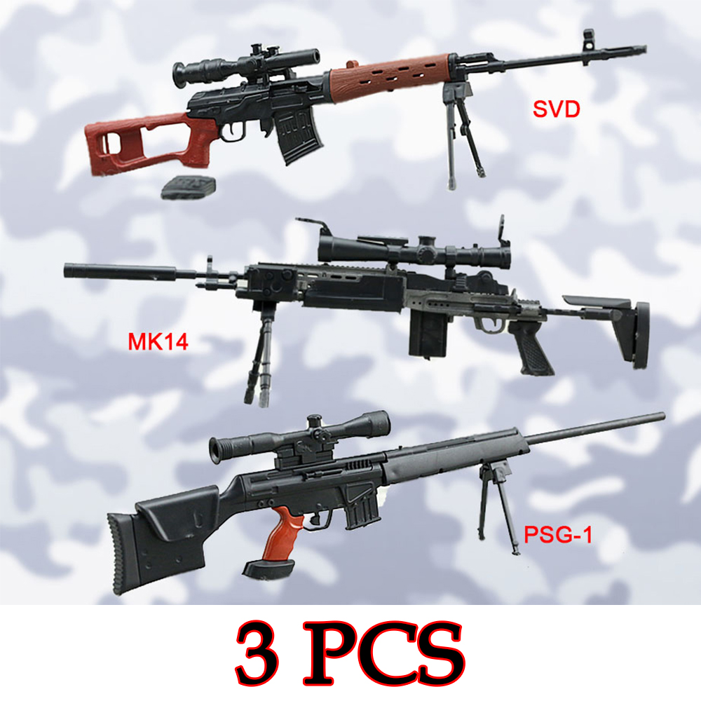 3Pcs/set MK14 MODO PSG-1 SVD Sniper Rifle Weapon Gun For 1/6 Scale12 Action Figure 1:6 Model Toy Christmas gift Free shipping aim top svd gbb