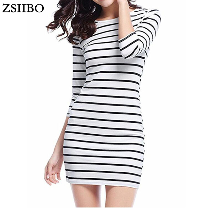 ZSIIBO LYQ61 New Spring Summer Women Round Neck Fashion Black and White Striped Long Sleeve Straight Plus Size Casual Dress|casual dress|plus size casual dressdress fashion - AliExpress