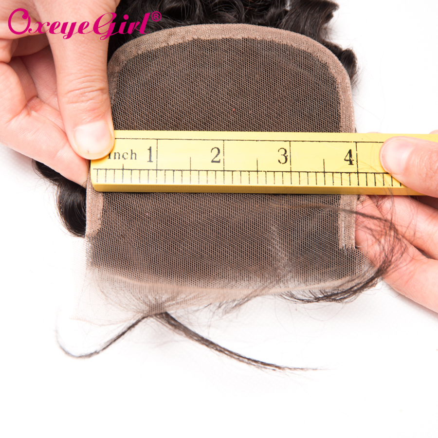 Peruvian Body Wave Lace Closure Med Baby Hair Free / Middle / Three - Menneskehår (sort) - Foto 6
