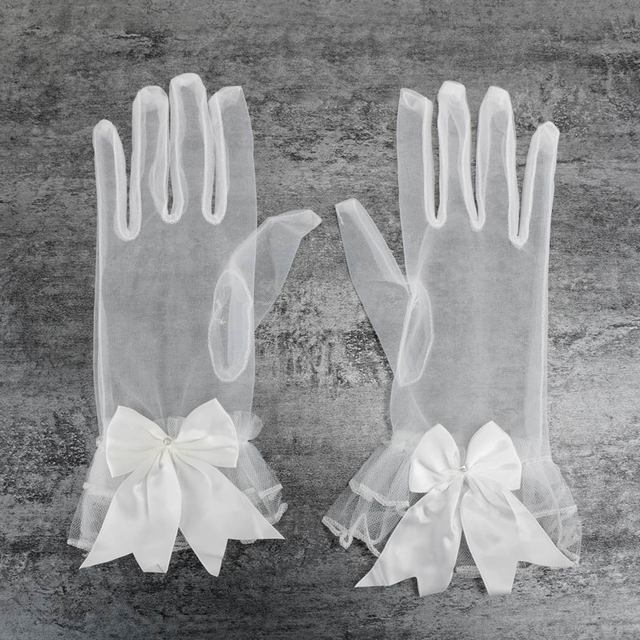 Women Lace Mesh Gloves Ladies White wrist gloves Large Bow Knot Marriage Glove Party Cosplay Accessories 1