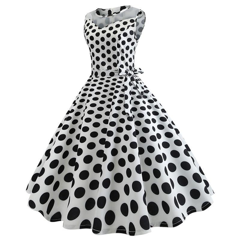 Retro letné párty šaty 1950 s bodkami Swing style (8 variánt) 7