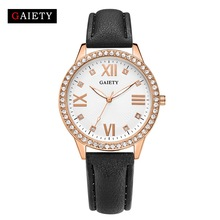 Top Brand GAETY Bracelet Watch Women Fashion Casual Analog Black Leather Luxury Crystal Rhinestone Quartz Wrist Watches Clock