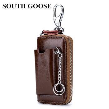Genuine Leather Key Wallets Men Car Key Holders Cowhide Multifunction Zipper Home Key Case Housekeeper Women Smart Keychain Case
