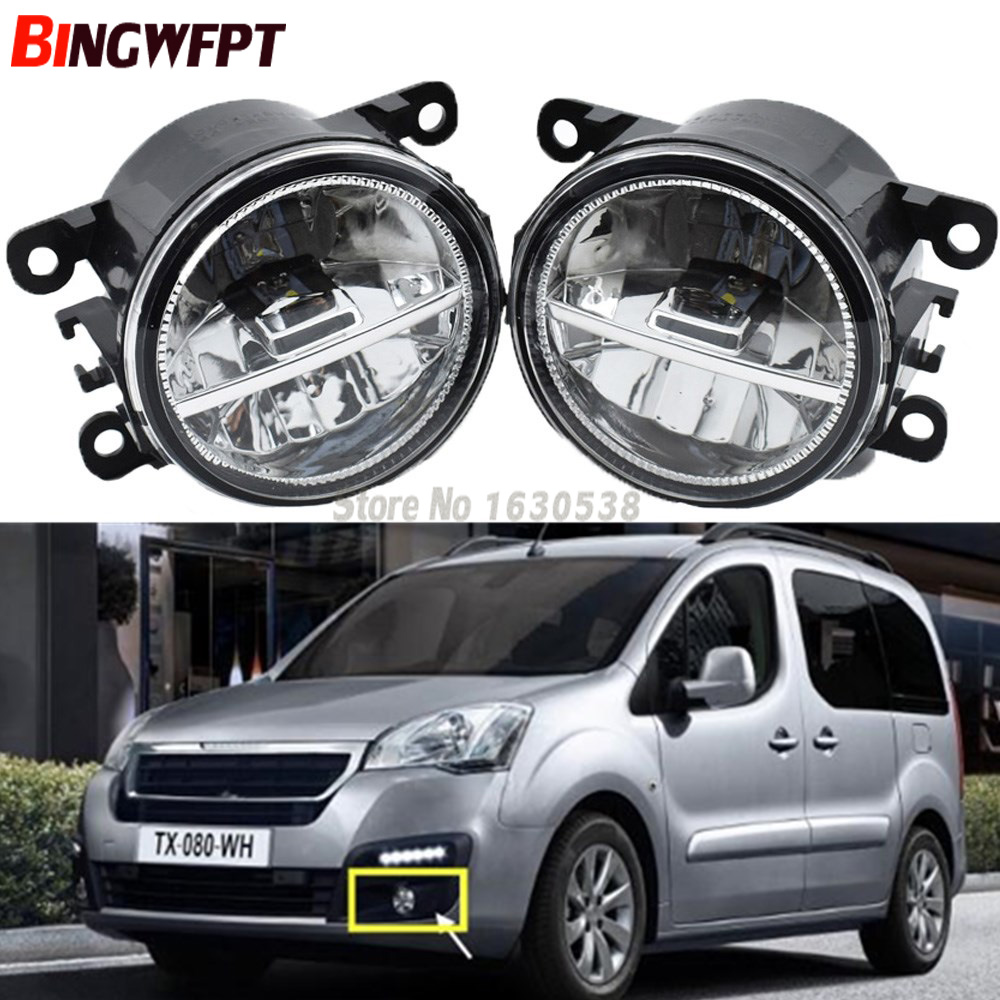 1 Pair Super Bright Fog Lights LED Fog Light White Color 6000K For Peugeot Partner Tepee 2008-2017