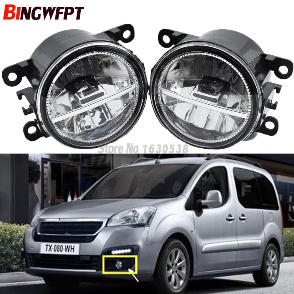 1 Pair Super Bright Fog Lights LED Fog Light White Color 6000K For Peugeot Partner Tepee 2008-2017