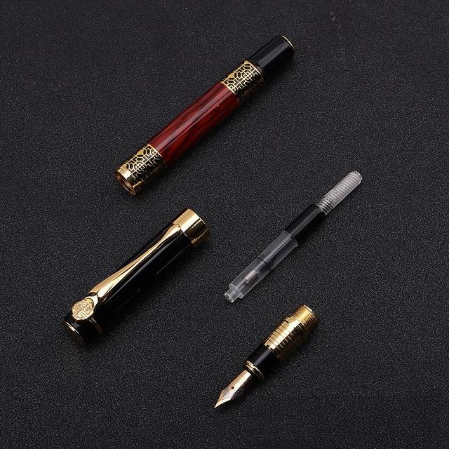 1pcs di Alta qualità classica penna stilografica in legno grano di alta qualità di affari della penna del metallo penna stilografica firma 4