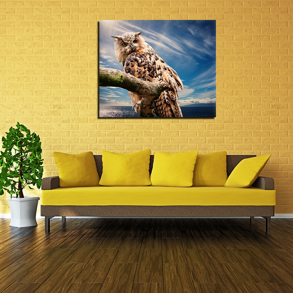 1pcs/set Animals Wall Art Owl on the Tree Oil Painting Printed On ...