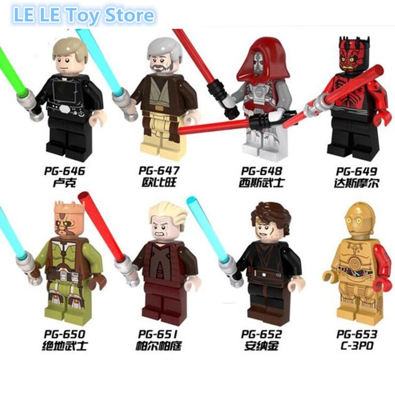 8PCS/lot PG8021 Star Wars Palpatine Sith warrior Darth Maul Anakin C3PO Building Blocks Bricks Action Baby Toys Gift
