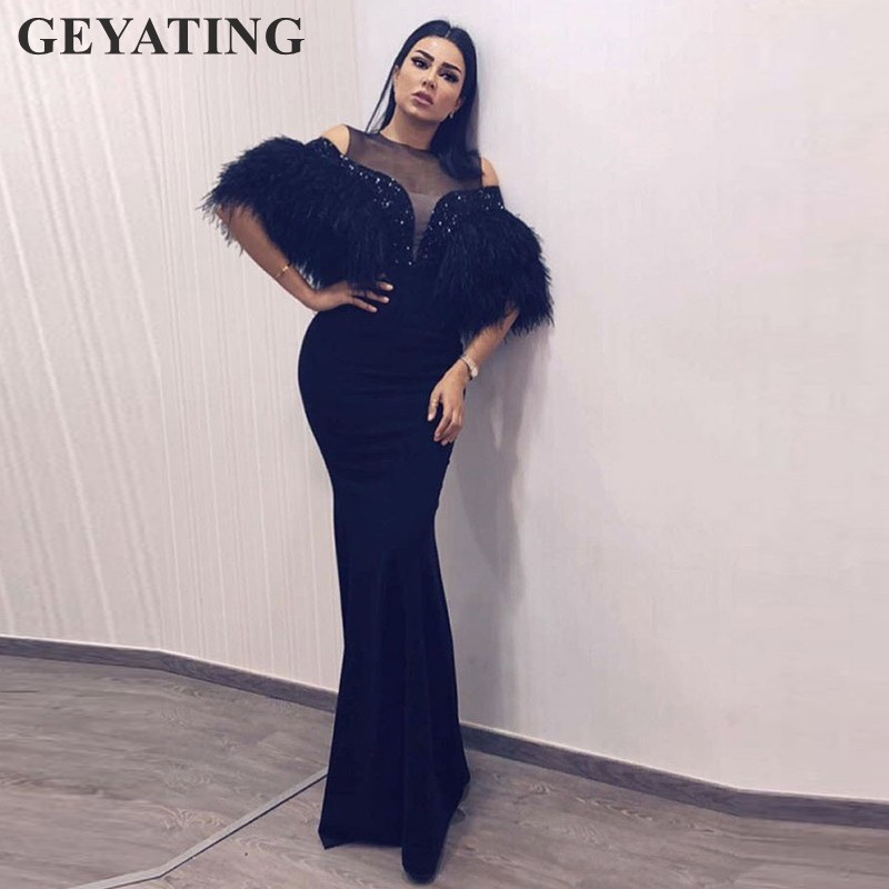 ab6244c75dad Saudi Arabic Long Black Mermaid Evening Dress with Feather 2019 Elegant  Kaftan Dubai Moroccan Formal Prom